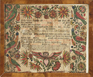 Lancaster County Pennsylvania printed and hand colored fraktur birth certificate for Elisabeth Schefer b 1776