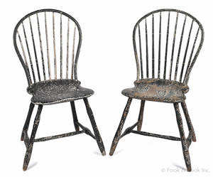 Pair of Pennsylvania painted hoopback Windsor side chairs ca 1800