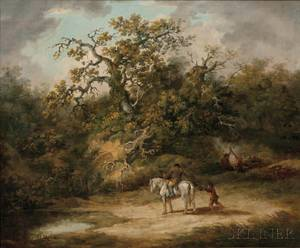Attributed to Thomas Hand British 17711804 Wooded Landscape with Horseman Giving Alms