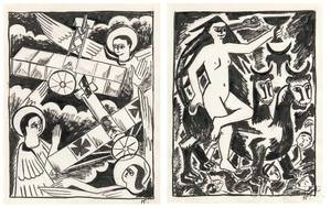 Natalia Sergeevna Goncharova Russian 18811962 Two Studies for The Mystical Images of War  Angels and Aeroplanes