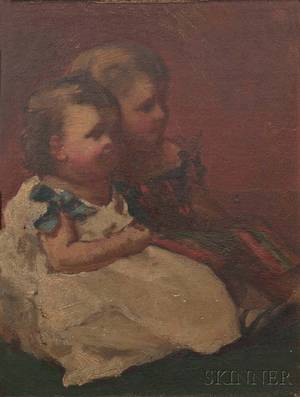 William Morris Hunt American 18241879 Study for The Russell Children James and Ellen