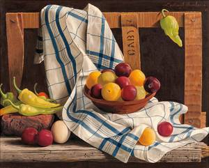 Lodewijk Karel Bruckman DutchAmerican 19131980 Still Life with Fruit and Chilies