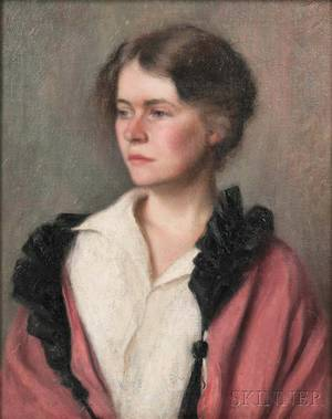 American School 19th Century Portrait of a Lady in a Rosecolored Coat