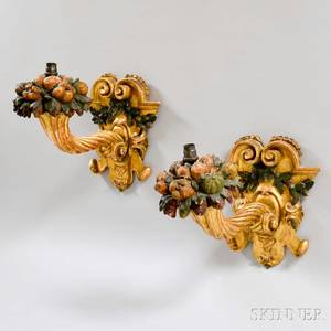 Pair of Carved Gilt and Painted Cornucopia Wall Sconces