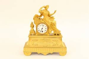 Gilt Bronze Figural Clock
