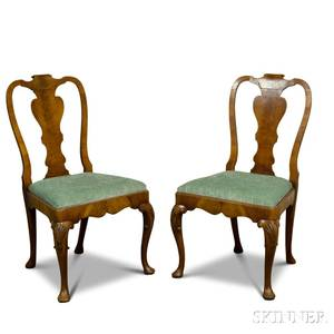 Pair of Queen Annestyle Carved Mahogany Side Chairs