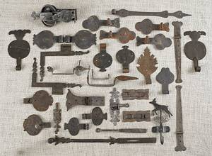 Collection of wrought iron hardware 19th c