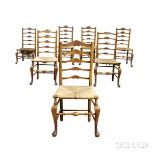 Assembled Set of Seven Country Cherry Ladderback Chairs