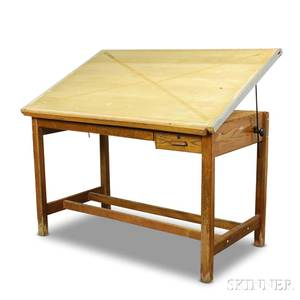 Large Hamilton Oak and Maple Drafting Table