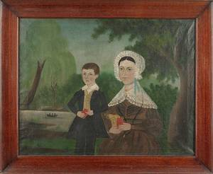 American oil on canvas folk portrait of a mother and son mid 19th c