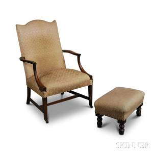 Federalstyle Mahogany Lolling Chair and a Footstool