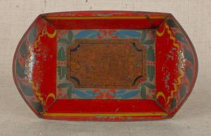 Pennsylvania red tole bread tray 19th c