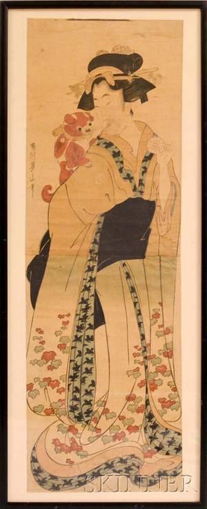 Kikugawa Eizan 17871867 Courtesan with Dog