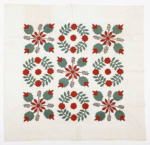 Pennsylvania appliqu rose variant quilt 19th c