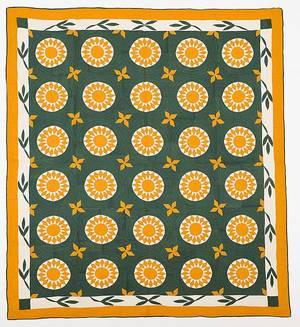 Pennsylvania pieced and appliqu compass variant quilt 19th c