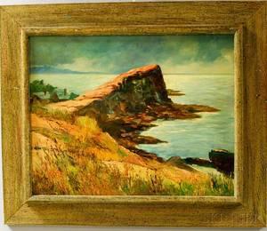 Otto Kurth American 18831965 The Sea Wall at Lanesville Cape Ann Mass