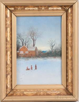 AngloAmerican School 20th Century Winter Scene with Children