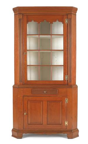 Pennsylvania Federal cherry corner cupboard ca 1800