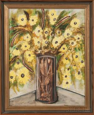 Simon Lissim American 19001981 Floral Still Life in a Vase Decorated with Three Birds