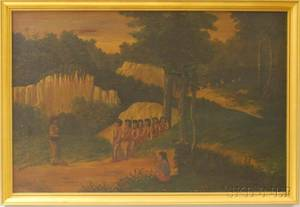 American School 19th20th Century Native American Hunting Party Scene