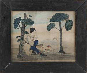 Watercolor primitive landscape with a hunter and a dog mid 19th c