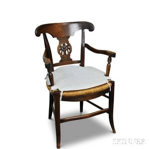 French Provincial Carved Fruitwood and Oak Rushseat Armchair