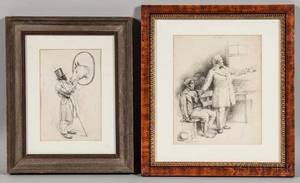 Two Framed Pen and Ink Drawings Including an Edward Kemble American 18611933