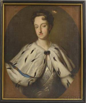 Continental School 18th Century Style Portrait of a Woman in an Ermine Cape
