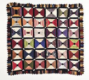 Victorian silk and velvet log cabin quilt