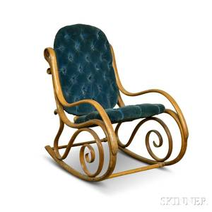 Thonetstyle Upholstered Bentwood Armed Rocking Chair