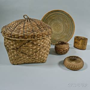 Four Woven Baskets and a Birch Bark Container