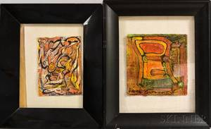 Two Alexander Gore RussianAmerican b 1958 Mixed Media Works and a Jacob Landau New Jersey 19172001 Figure Study