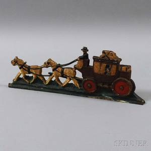Polychrome Cast Iron Horse and Buggy Doorstop