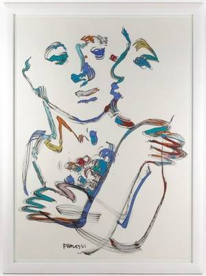 David Fraley Figural Mixed Media on Paper 1991