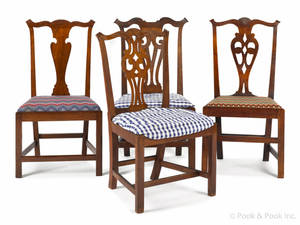 Four New England Chippendale dining chairs