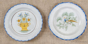Two pearlware blue feather edge plates early 19th c
