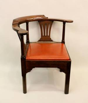 Early 19th C English Mahogany Corner Chair