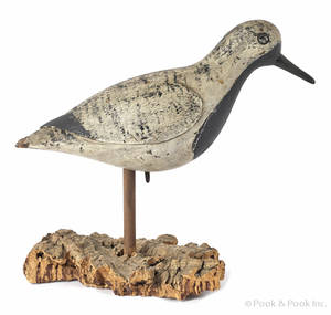Long Island New York carved and painted black belly plover decoy late 19th c
