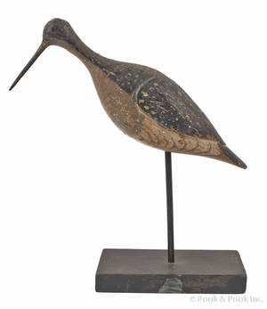 New Jersey or Long Island New York carved and painted yellowlegs decoy late 19th c