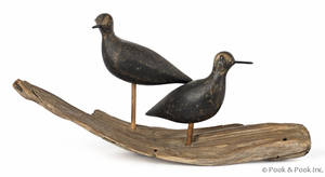 Pair of Massachusetts carved and painted plover decoys late 19th c