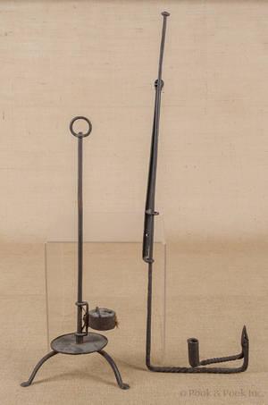 Wrought iron adjustable loom light mid 18th c