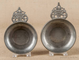 Two New England pewter porringers ca 1800