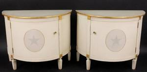 Pair of Painted Demilune Cabinets wStar Accent