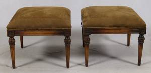 FRENCH LOUIS XVI CARVED WALNUT FOOTSTOOLS 19TH C