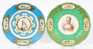 SEVRES PAINTED PORCELAIN PORTRAIT PLATES TWO