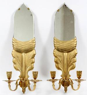 CHAPMAN BRASS AND MIRRORED GLASS WALL SCONCES 1972