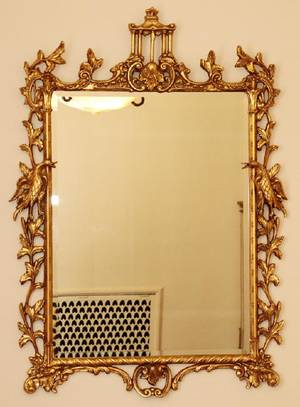 CHINESE CHIPPENDALE STYLE GILT BEVELED GLASS MIRROR