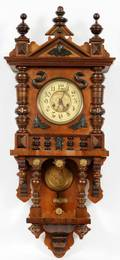 GUSTAV BECKER CARVED WALL CLOCK EARLY 20TH C