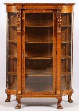 LATE VICTORIAN CARVED OAK DISPLAY CABINET