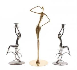 3 Modern Figural Items Candlesticks  Sculpture